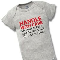 Handle With Care Crazy Aunt Onesies Baby Gift Funny Cute Auntie Boy Girl Clothes