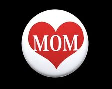MOM LOVE HEART - Button Pinback Badge 1""