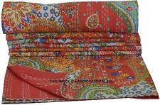 Indian Kantha Throw Paisley Print Kantha Quilt Reversible Bedspread Cotton Gudri