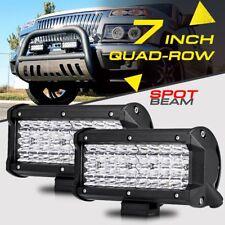 """2X 7"""" 480W SPOT BEAM QUAD-ROW CREE LED Work Light Bar Offroad Truck 4X4WD 3/4/5"""""""