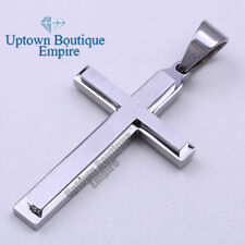 Men stainless steel Plain Silver cross pendant P32