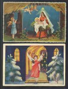 VINTAGE CHRISTMAS GREETING CARDS - ANGELS - 1933 - 2 CARDS