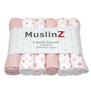 MuslinZ 6PK Baby Muslin Squares Cloths 70cm 100% Pure Soft Cotton Pale Pink Star