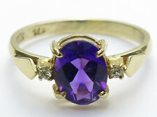 14K Solid Yellow Gold Amethyst=1.10ct and Diamond Ring-Size 5 3/4