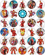 30 x Iron Man Avengers Movie Party Edible Rice Wafer Paper Cupcake Toppers