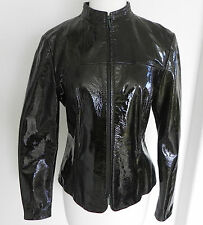 Etcetera 100% Genuine Patent Leather Jacket Dark Green Full Zip Size 6