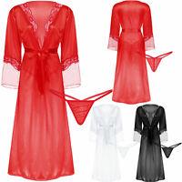 Damen Dessous Lang Kimono Spitzen Negligee Nachtwäsche durchsichtig Nachthemd