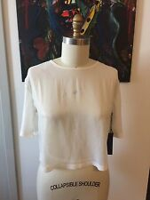 TILDON Button Down Back Semi Sheer Ivory With Metallic Shimmer Top Blouse XS