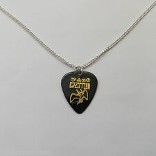 "LED ZEPPELIN guitar pick plectrum silver plated 24"" curb chain NECKLACE black"