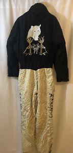 Vintage Retro Bogner SEIGFRIED & ROY TIGER EMBROIDERED Ski Suit Sz S RARE BLACK