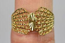 Women's 18k Solid Yellow Gold Filigree Cut European ladies Cocktail Ring