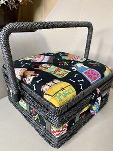 St Jane Dog Puppy Sewing Basket Box Tray Organizer Rattan Wicker Handle