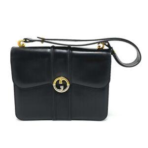 GUCCI GGHardware Old Gucci Shoulder Bag Leather Black/Gold x SilverHardware