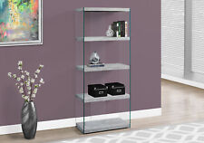 """Monarch Specialities Bookcase - 60""""H / Grey Cement With Tempered Glass (I3233)"""