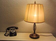 Tischlampe Säulenlampe Seiden Lampenschirm Messing '60er Jahre