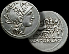 ROMAN REPUBLIC - 111 -110 BC. SILVER Denarius / ROMA / RARE 3 Horse TRIGA + COA
