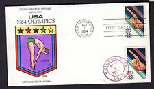 1984 #2082 20c Los Angeles Olympics Diving Collins Hand Painted FDC