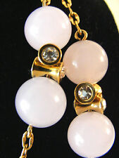 "J.Crew Gold-Tone Chain and Rose Quartz Beaded w. Rhinestone Spacers 38"" Necklace"