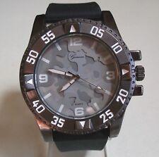 Men's Geneva Camouflage Black Silicone Band Dressy/Casual Fashion Wrist Watch