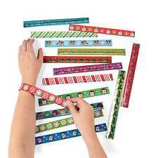 50 pc. slap bracelet assortment Holiday CHRISTMAS  party favor PENGUIN REINDEER