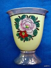 Victorian style FLORAL VASE purple&ivory color hand-painted ROSE Japan~excellent