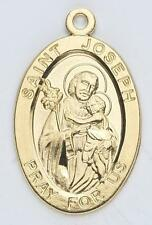 """MRT Gold Over Sterling Silver St Joseph 7/8"""" Oval Medal on 20"""" Chain w Gift Box"""