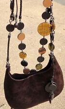 Vintage Bottega Veneta Suede Charm Cross Body Purse Glass Pottery Handbag