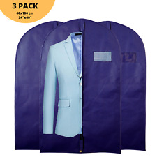 """3x 40"""" Navy Blue Pack Suit Protector Cover Clothes Travel Zipped Storage Bag"""