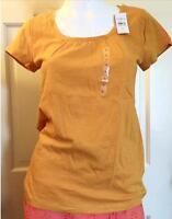 NEW ANN TAYLOR LOFT Shirred Cotton Slub Short Sleeve Tee Top   Pumpkin