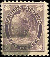 1897 Used Canada 10c F+ Scott #73 Queen Victoria Maple Leaf Stamp