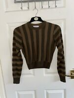 Ladies Stockholm Atelier & Other Stories Cropped Top Size XS Brown Gold Sparkle