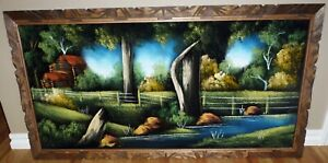 VTG Mexican Velvet Painting Picture Country Cabin Scene Wood Carved Frame 48X26