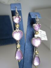 KONSTANTINO PINK MOTHER PEARL DOUBLET 18K & STERLING SILVER DROP EARRINGS