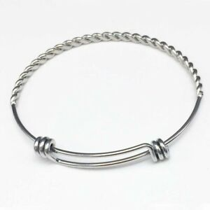 10pcs Twisted Wire Bangle Bracelet Silver Stainless Stell Lead and Nickel free