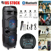 """Dual 8"""" Wireless Portable Party Bluetooth Speaker Audio Stereo w/ Remote + Mic"""
