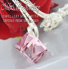 925 Silver Necklace Pendant Crystals from Swarovski® 8mm CUBE - Light Rose