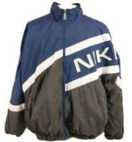 Vintage Nike Windbreaker full zip Nylon Jacket Men's XXL Blue Black And White