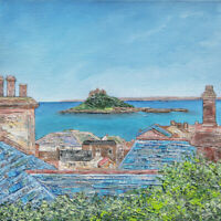 "Original Art - ""Over the Rooftops St Michael's Mount"" Cornwall Cornish painting"