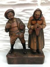 Vintage Anri Wooden Hand Carved 7� Elderly Man and Woman on Base Made in Italy