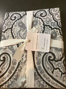 pottery barn beale paisly shower curtain gray #1572