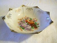"""Lovely Antique Germany Flower/Fruit 7 3/8"""" Bowl Gold Floral, 8 Point, Nice"""