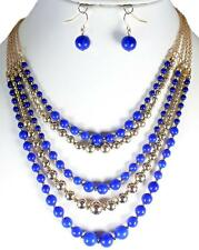 Multi Layer Royal Blue Pearl Bead Gold Earrings Necklace Jewelry Set