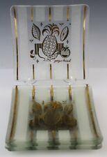 7 Georges Briard Hollywood Regency Mid Century Modern Glass Pineapple Plate Set