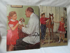 2 Vintage ca 1964 Real Photo Horse & dog Tray Puzzles 10x14