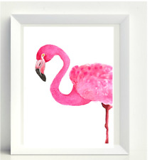 NEW Pink Flamingo A4 Wall Art Poster Print Watercolour Painting Home Decor Gift