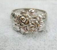 Silver Rose Ring Victorian Rose Design Sterling 925 Retro Vintage Estate SS