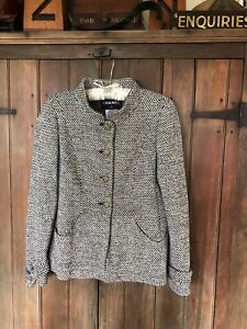 Chanel  Black White Gold Blazer Tweed Jacket EU 42  10