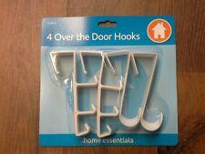 4 x Over The Door Hooks Hanging Clothes Storage Racks Coat Hanger