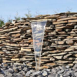 Wasserfall aus Edelstahl für Garten Wand Mauer Gabione Teich Springbrunnen 30cm