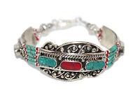 Turquoise Bracelet Coral Bracelet Silver Bracelet Tribal Bracelet Boho Gypsy